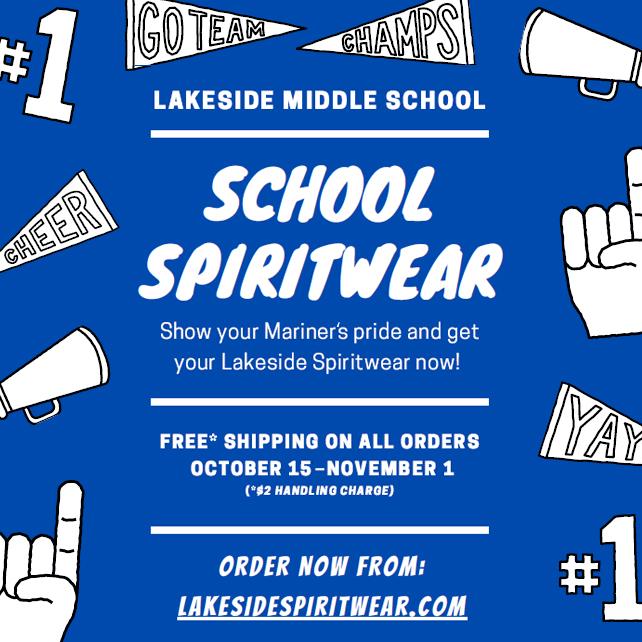 Free Shipping on all Lakeside Spiritwear orders through November 1.